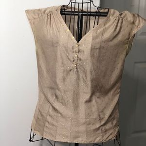 The Limited  Brown/Gold Sheer Blouse M